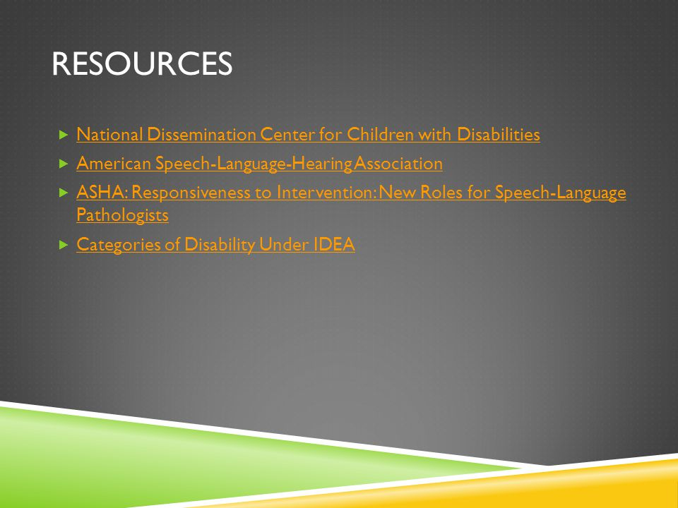 Resources National Dissemination Center for Children with Disabilities