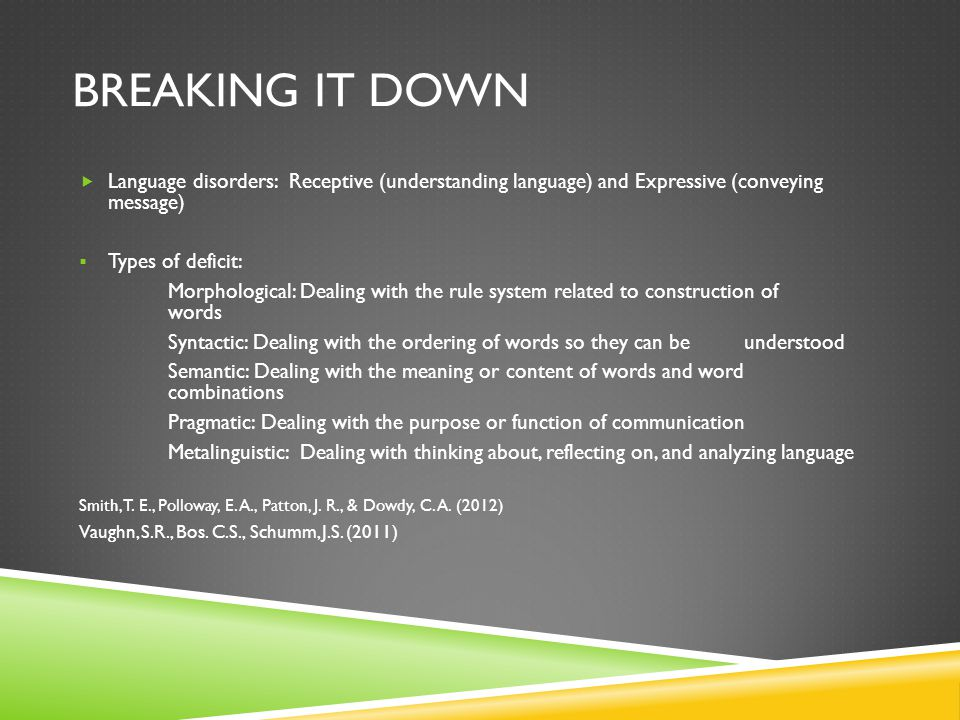 Breaking it down Language disorders: Receptive (understanding language) and Expressive (conveying message)