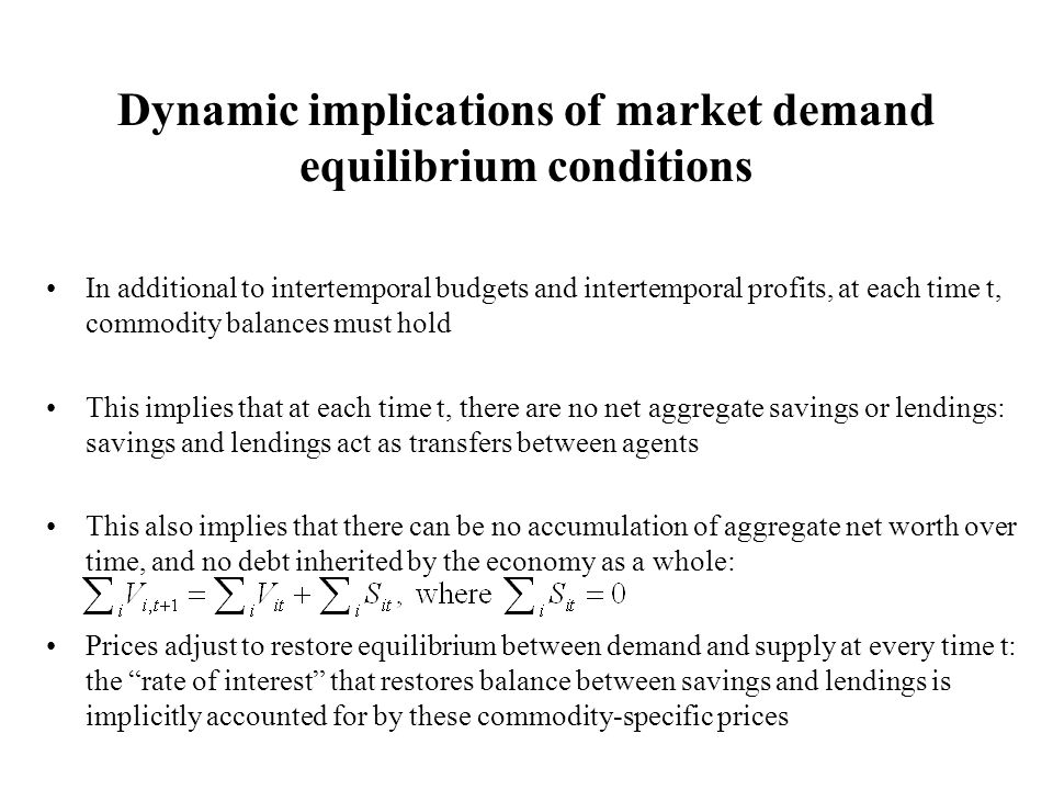 Dynamic implications of market demand equilibrium conditions