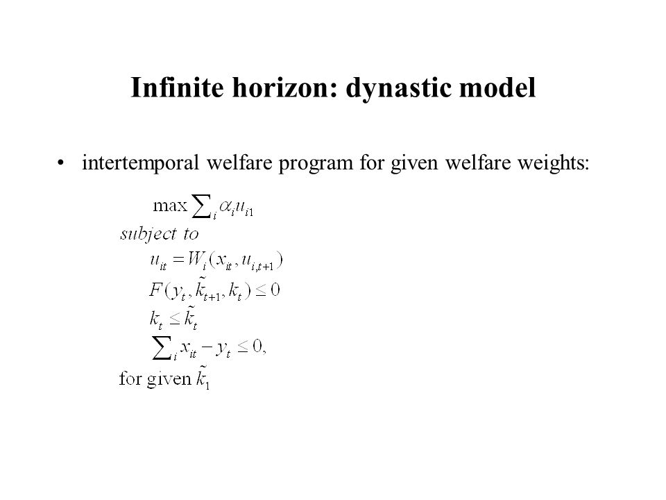 Infinite horizon: dynastic model