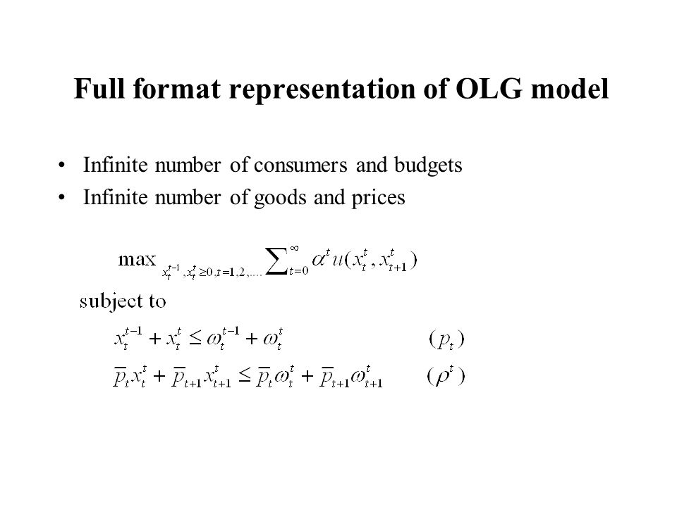 Full format representation of OLG model