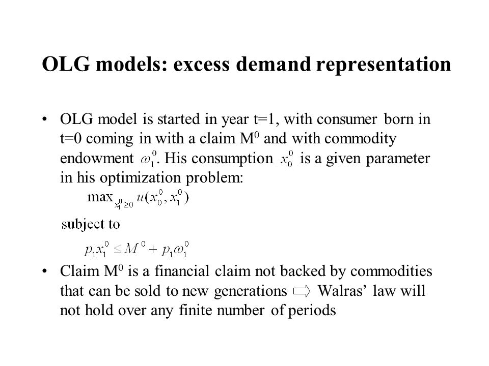 OLG models: excess demand representation