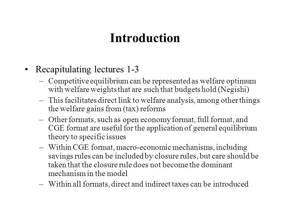 Introduction Recapitulating lectures 1-3