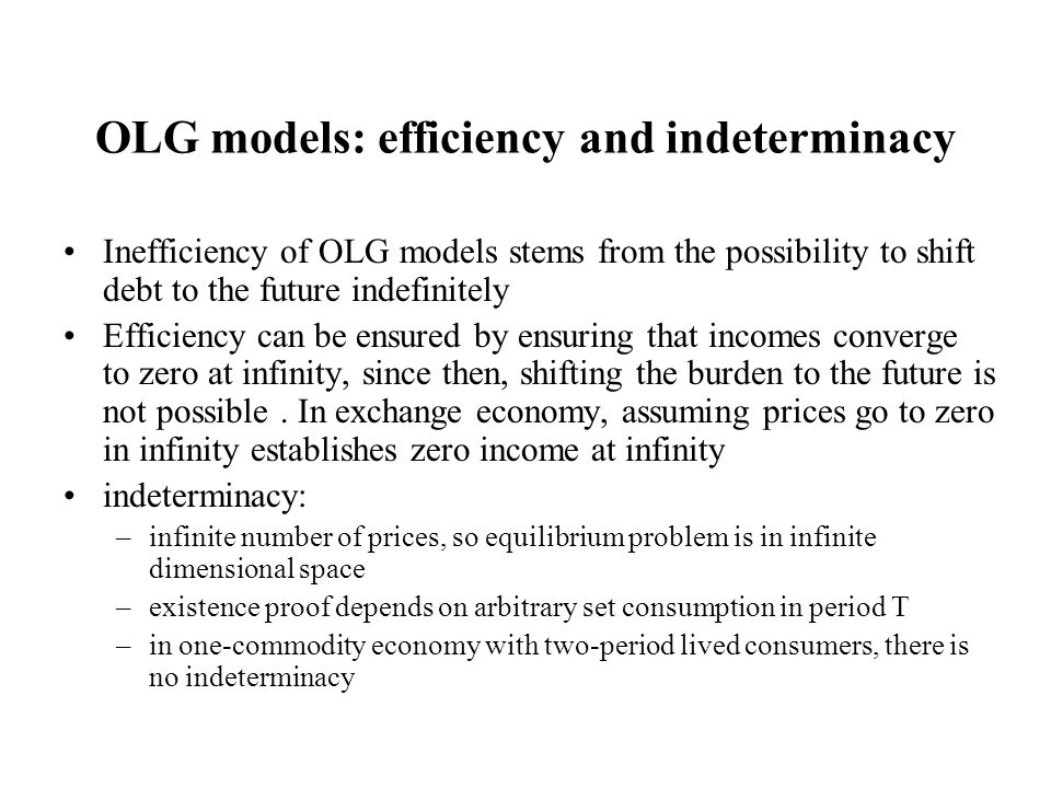 OLG models: efficiency and indeterminacy