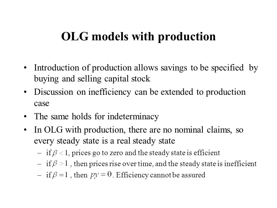 OLG models with production