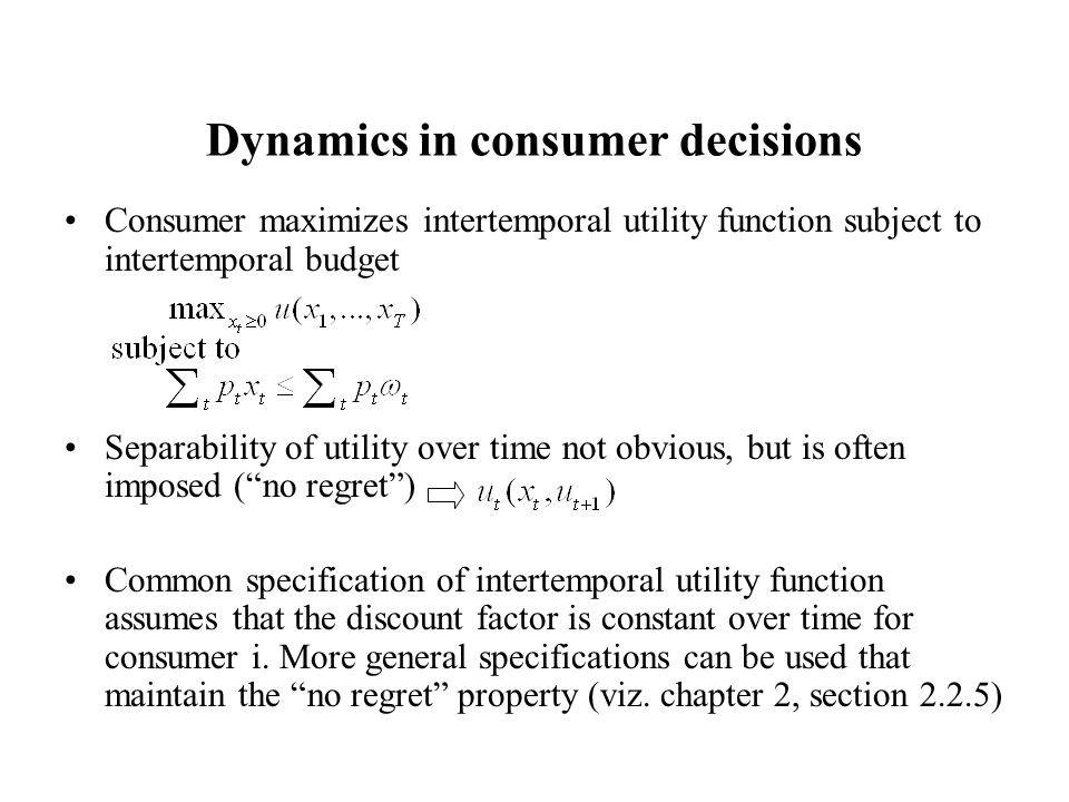 Dynamics in consumer decisions