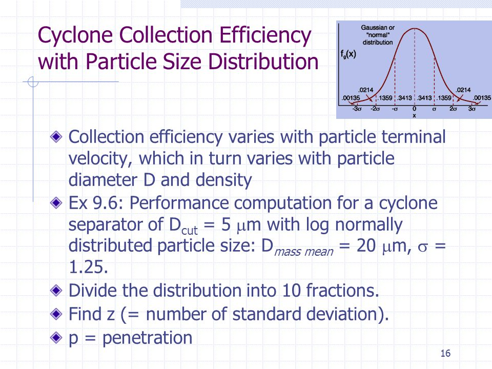 Cyclone Collection Efficiency with Particle Size Distribution