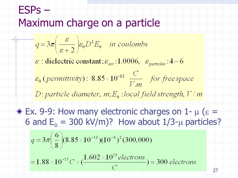 ESPs – Maximum charge on a particle