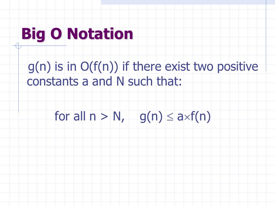 Big O Notation g(n) is in O(f(n)) if there exist two positive constants a and N such that: for all n > N, g(n)  af(n)