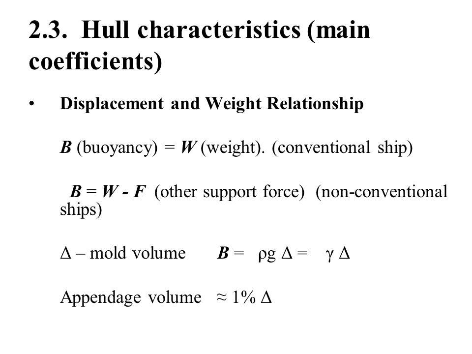 2.3. Hull characteristics (main coefficients)