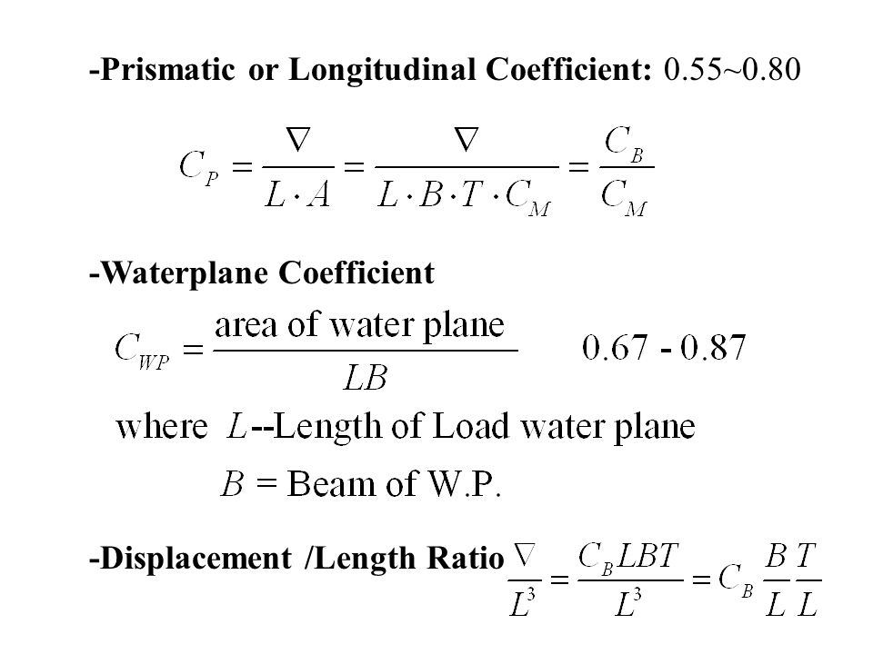 -Prismatic or Longitudinal Coefficient: 0.55~0.80