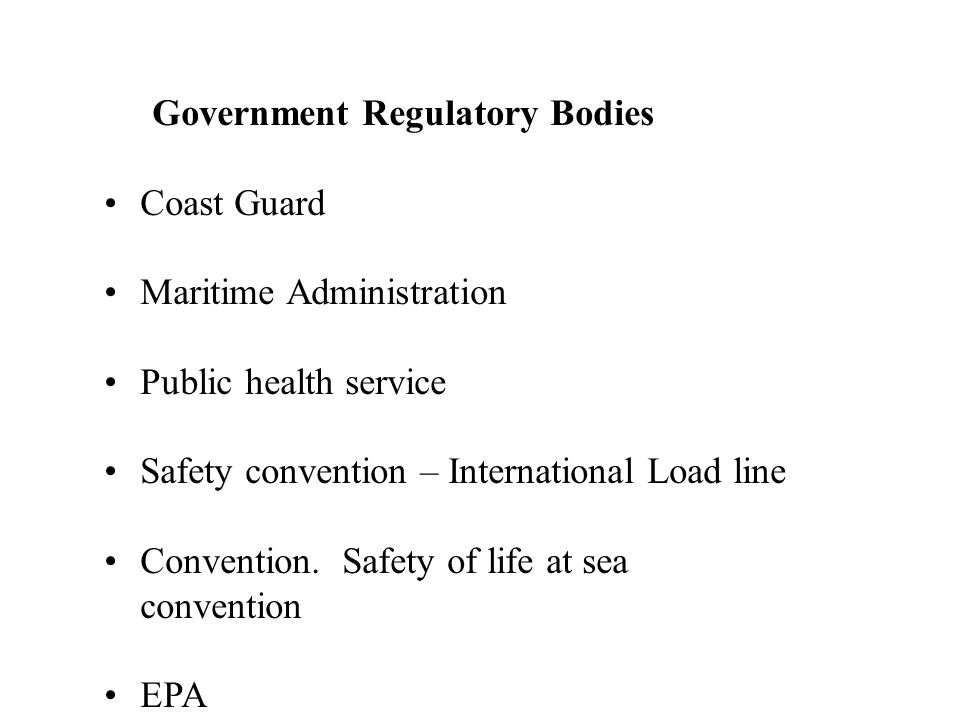 Government Regulatory Bodies