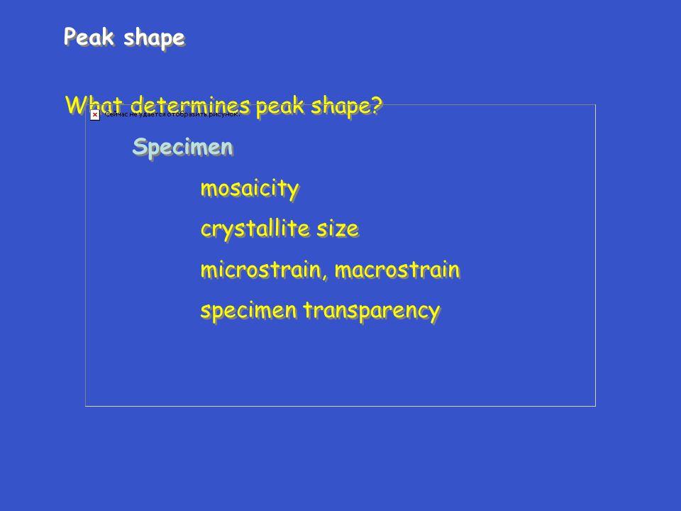 Peak shape What determines peak shape Specimen. mosaicity. crystallite size. microstrain, macrostrain.