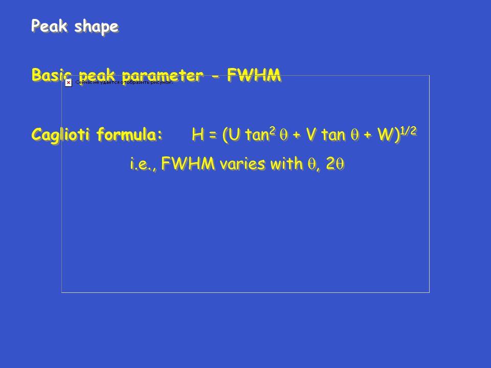 Peak shape Basic peak parameter - FWHM. Caglioti formula: H = (U tan2  + V tan  + W)1/2.