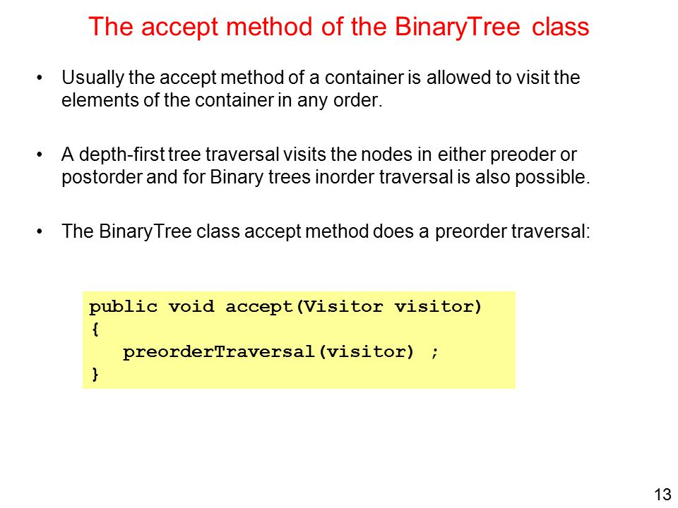 The accept method of the BinaryTree class