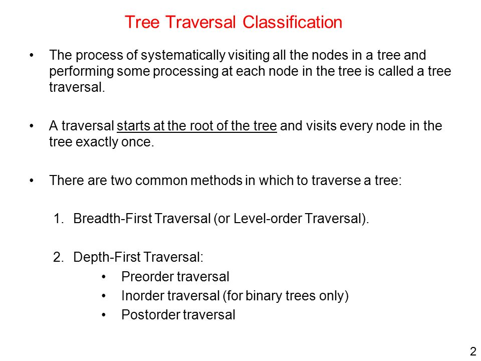 Tree Traversal Classification