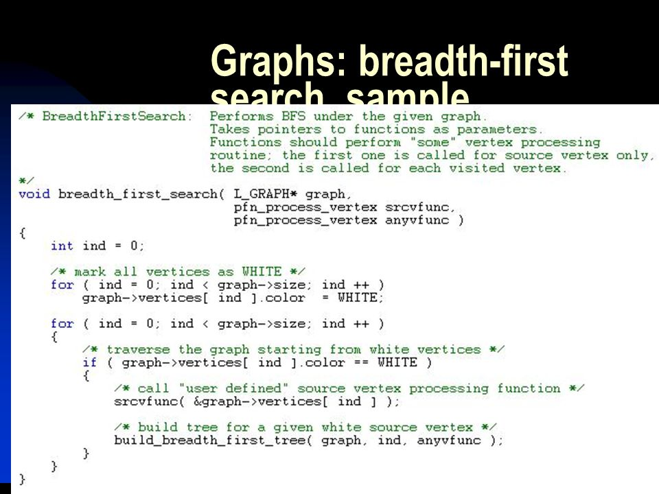 Graphs: breadth-first search, sample