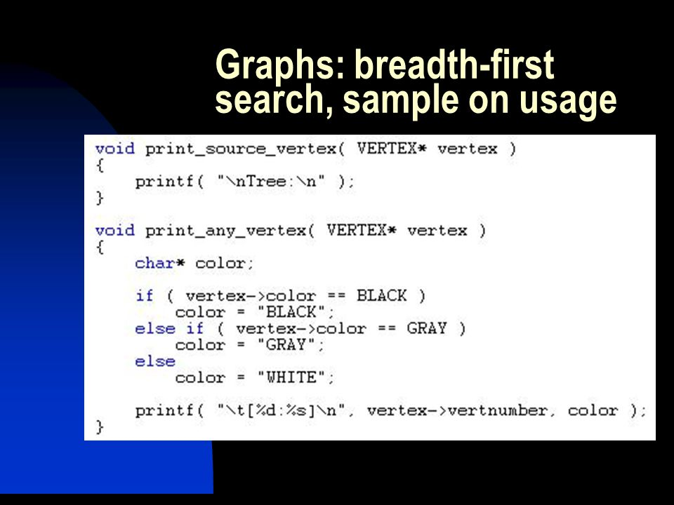 Graphs: breadth-first search, sample on usage