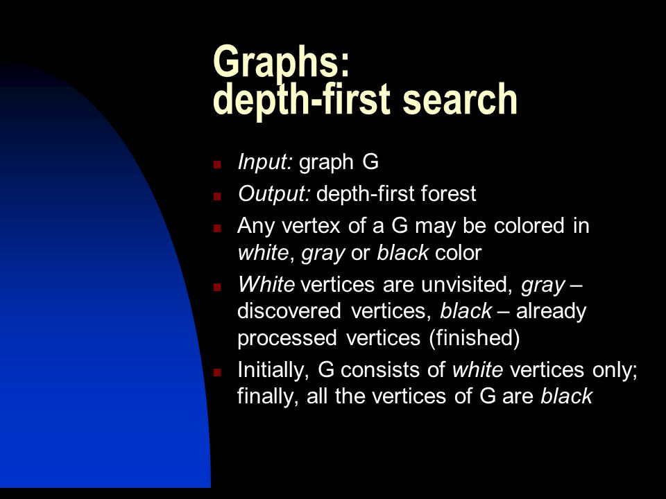 Graphs: depth-first search