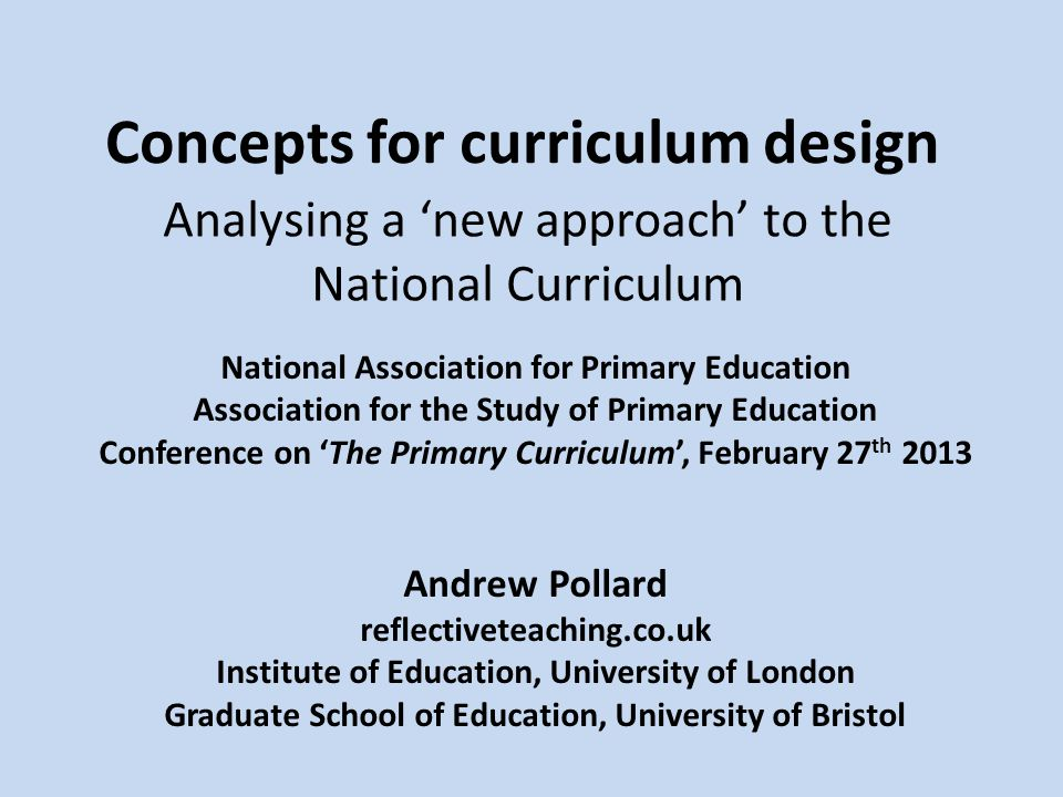 Concepts for curriculum design