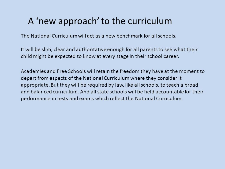 A 'new approach' to the curriculum