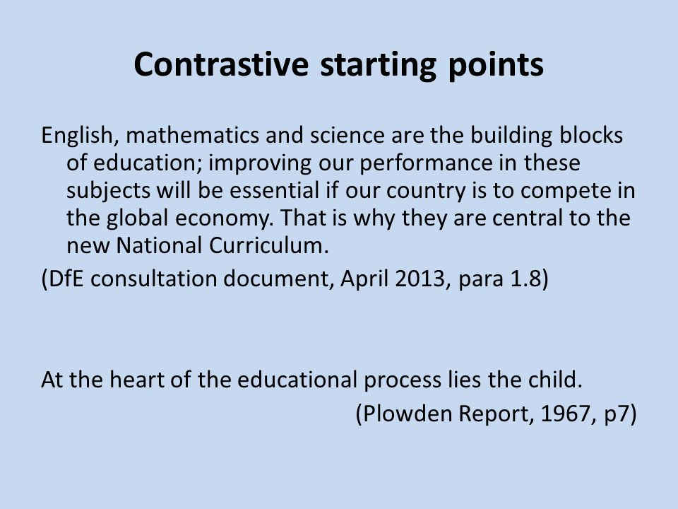 Contrastive starting points