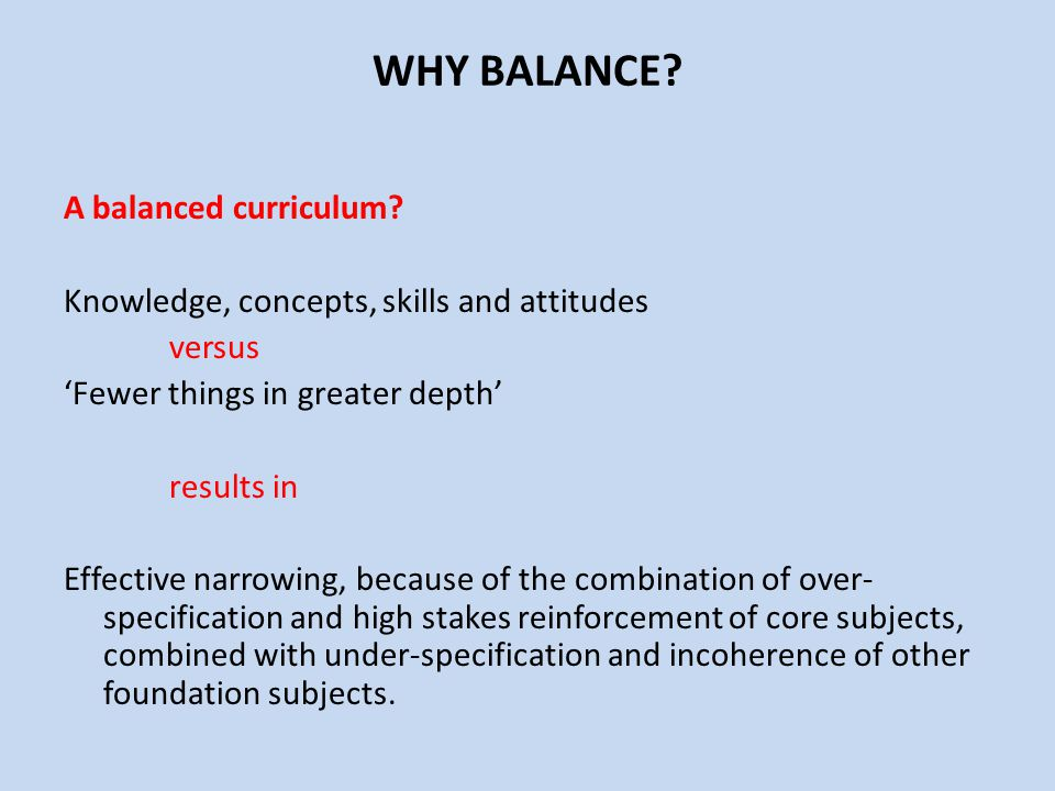 WHY BALANCE