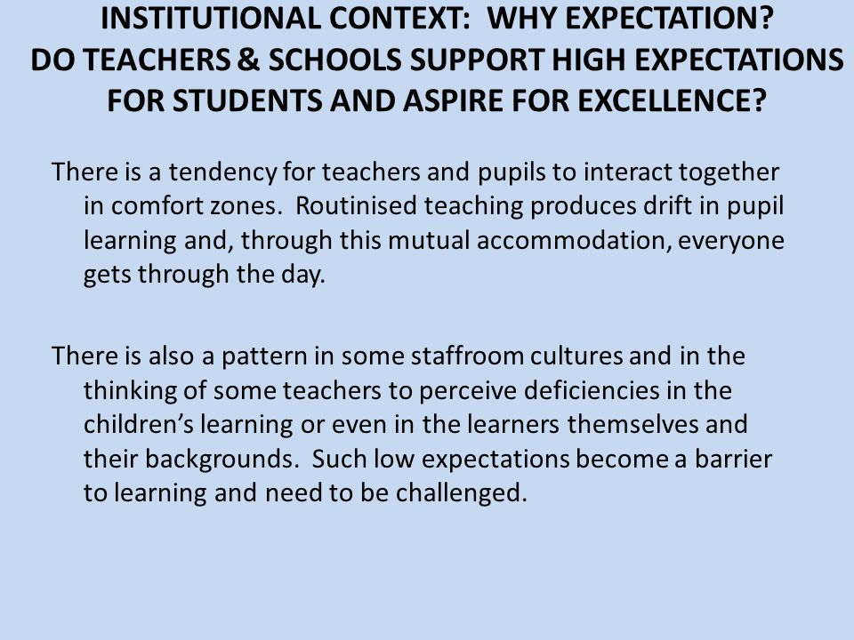 INSTITUTIONAL CONTEXT: WHY EXPECTATION