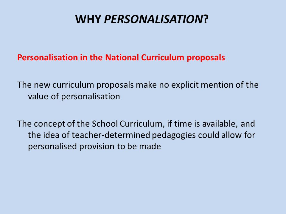 WHY PERSONALISATION