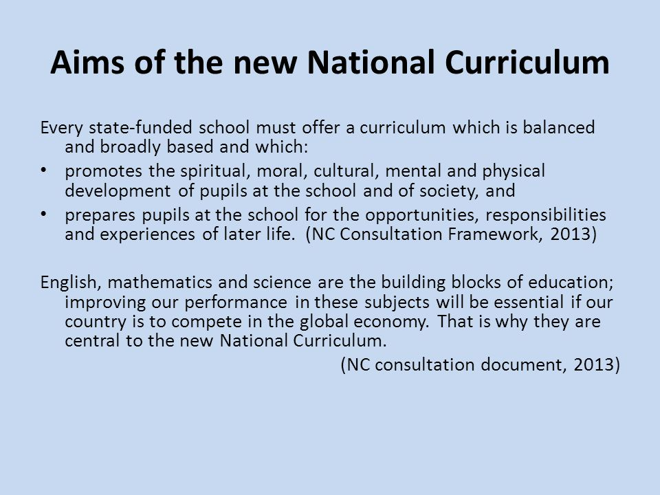 Aims of the new National Curriculum