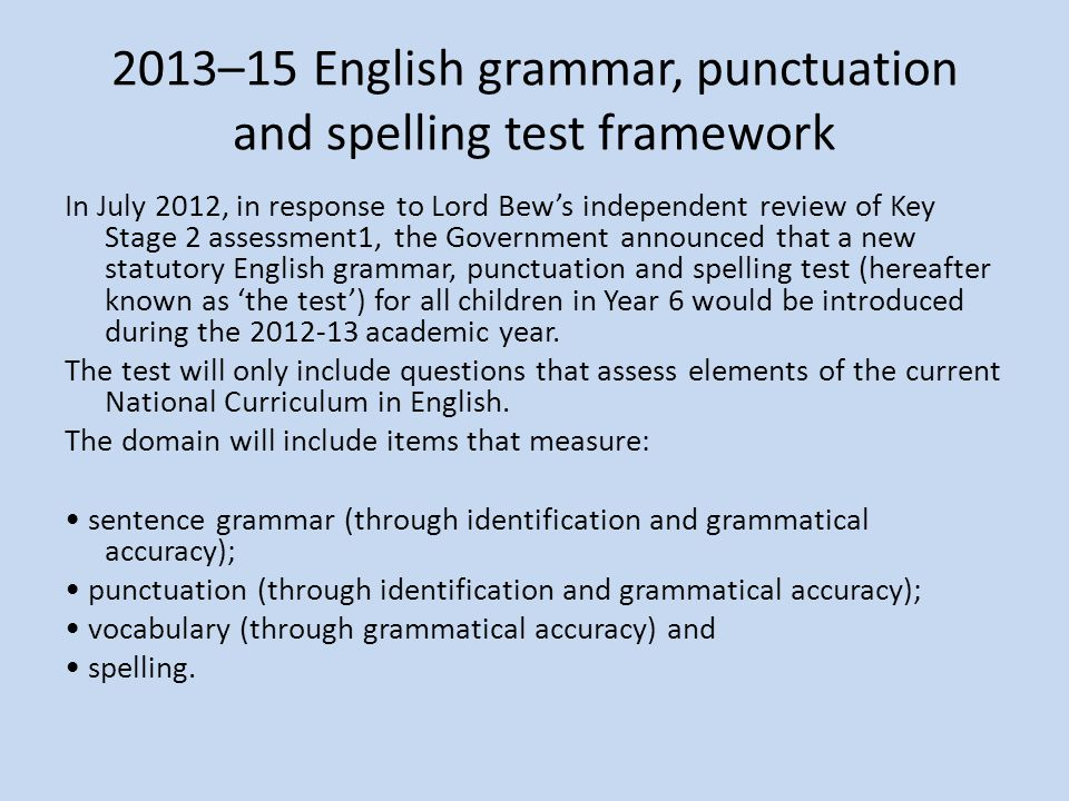 2013–15 English grammar, punctuation and spelling test framework