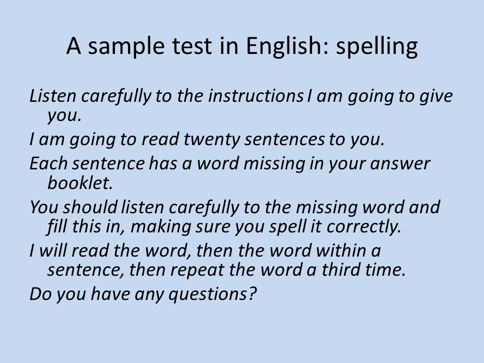 A sample test in English: spelling