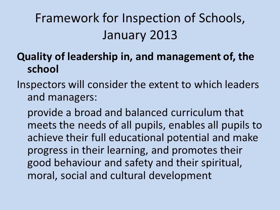 Framework for Inspection of Schools, January 2013