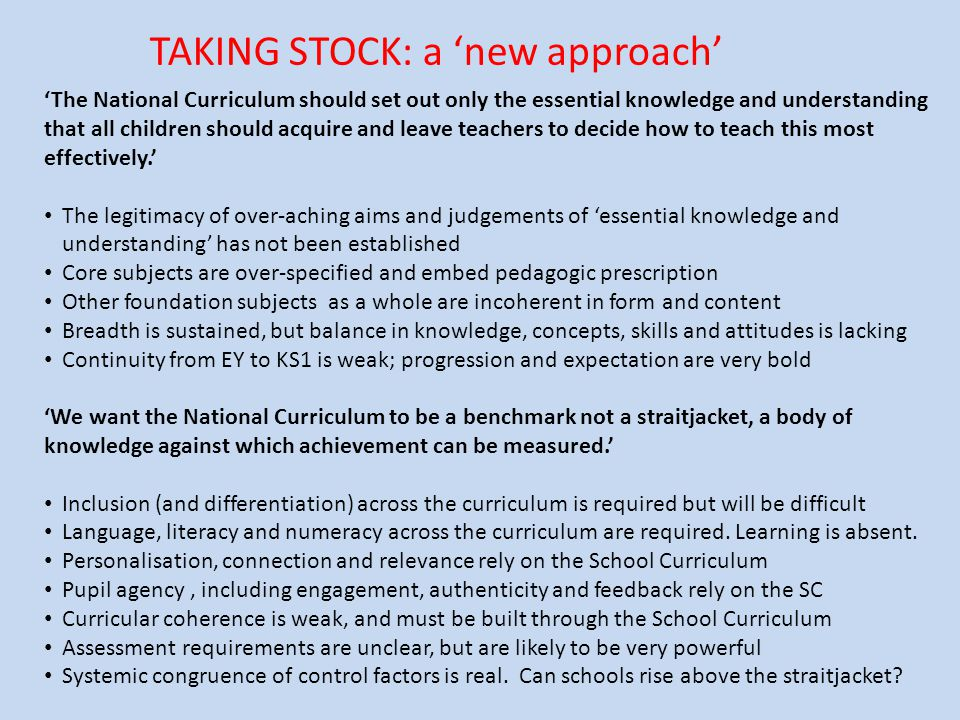 TAKING STOCK: a 'new approach'