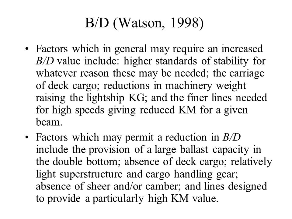B/D (Watson, 1998)