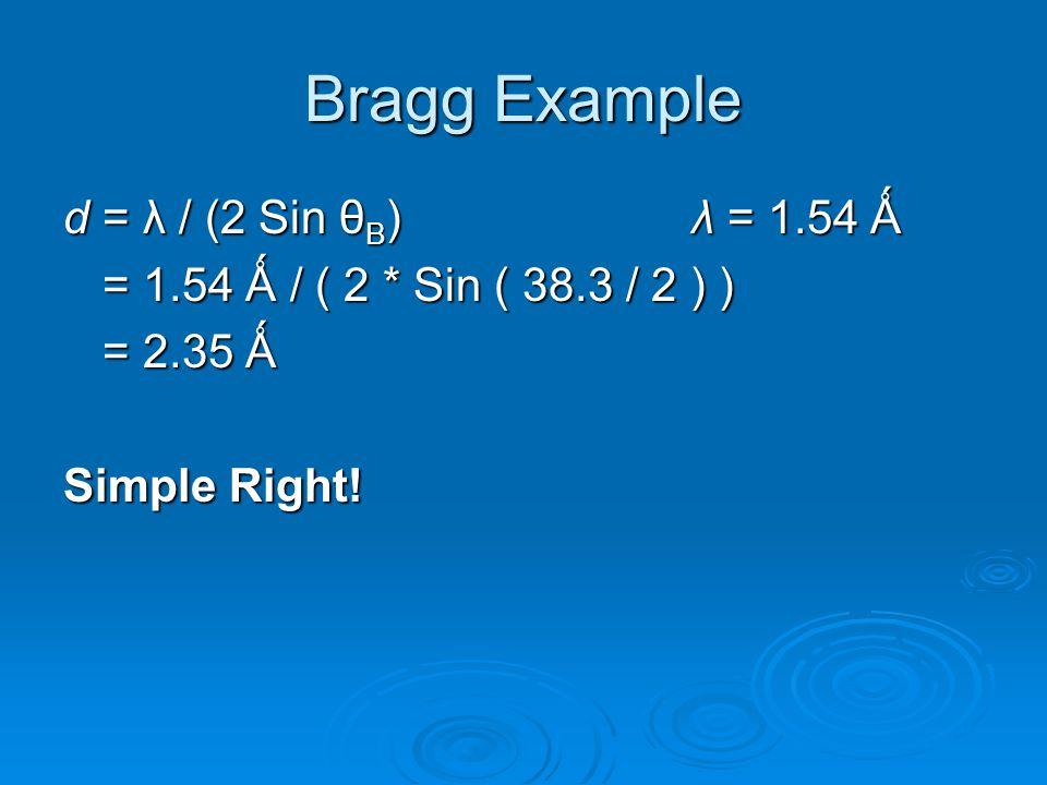 Bragg Example d = λ / (2 Sin θB) λ = 1.54 Ǻ