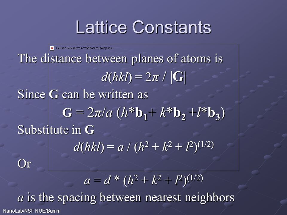 Lattice Constants The distance between planes of atoms is