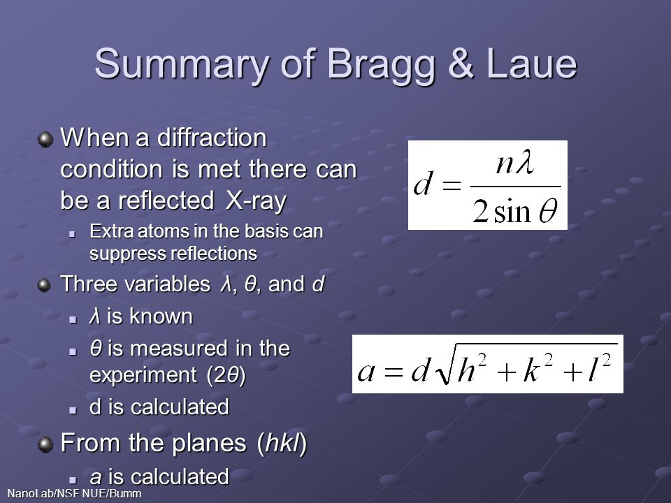 Summary of Bragg & Laue When a diffraction condition is met there can be a reflected X-ray. Extra atoms in the basis can suppress reflections.