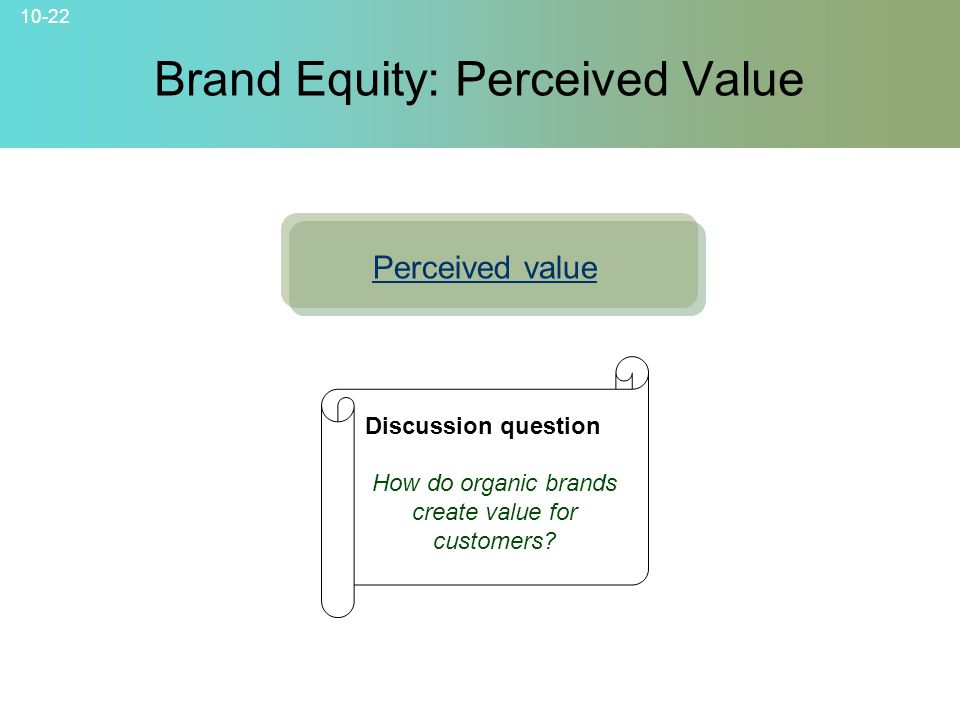 Brand Equity: Perceived Value