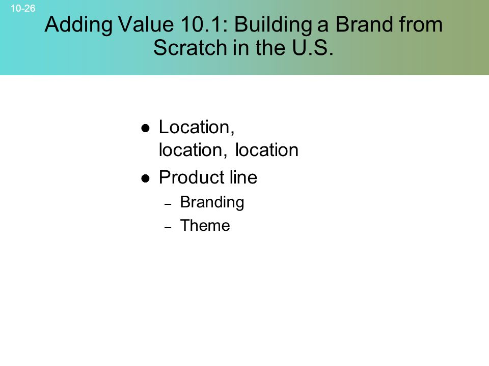 Adding Value 10.1: Building a Brand from Scratch in the U.S.