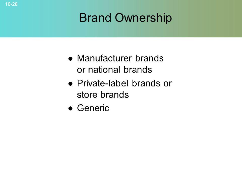 Brand Ownership Manufacturer brands or national brands