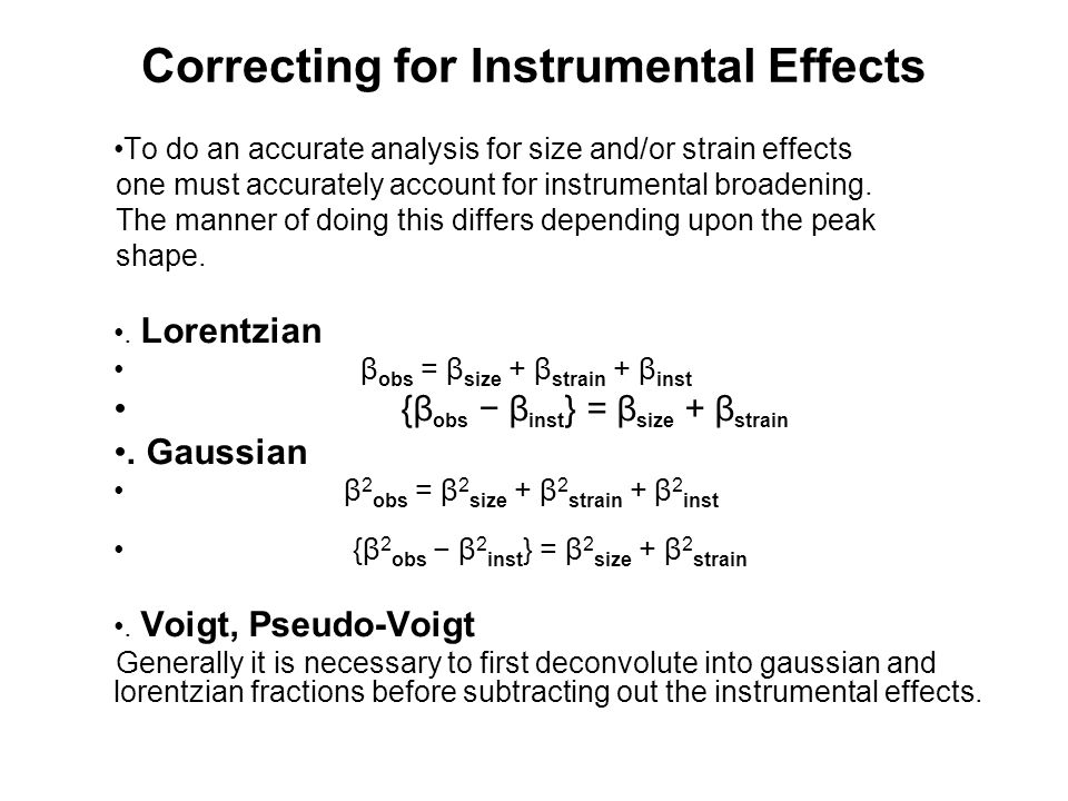 Correcting for Instrumental Effects