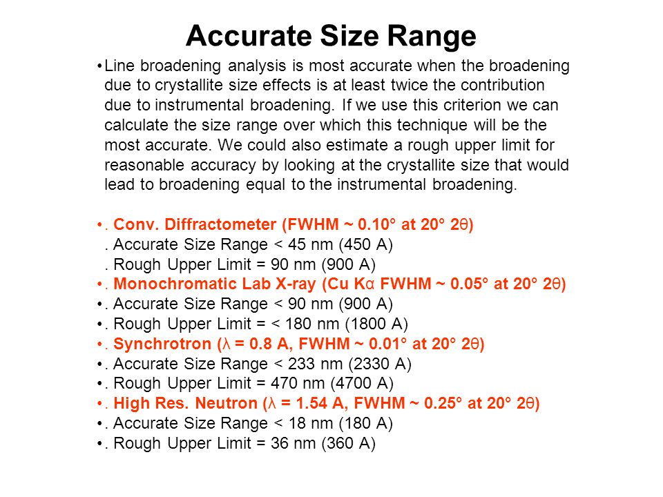 Accurate Size Range Line broadening analysis is most accurate when the broadening.
