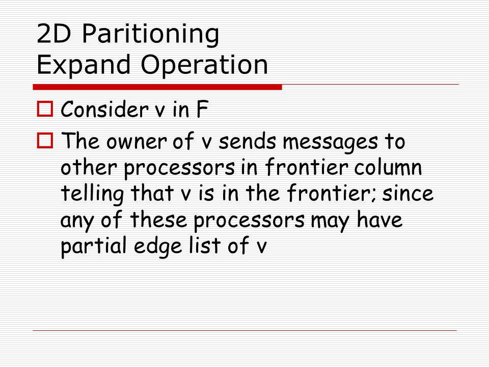 2D Paritioning Expand Operation