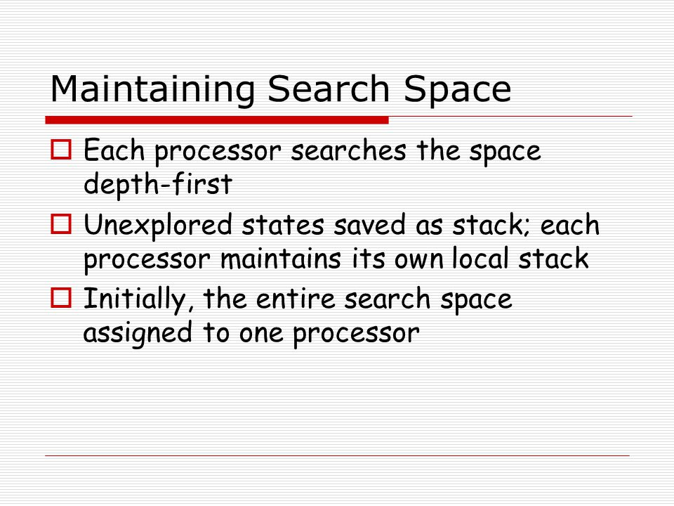 Maintaining Search Space