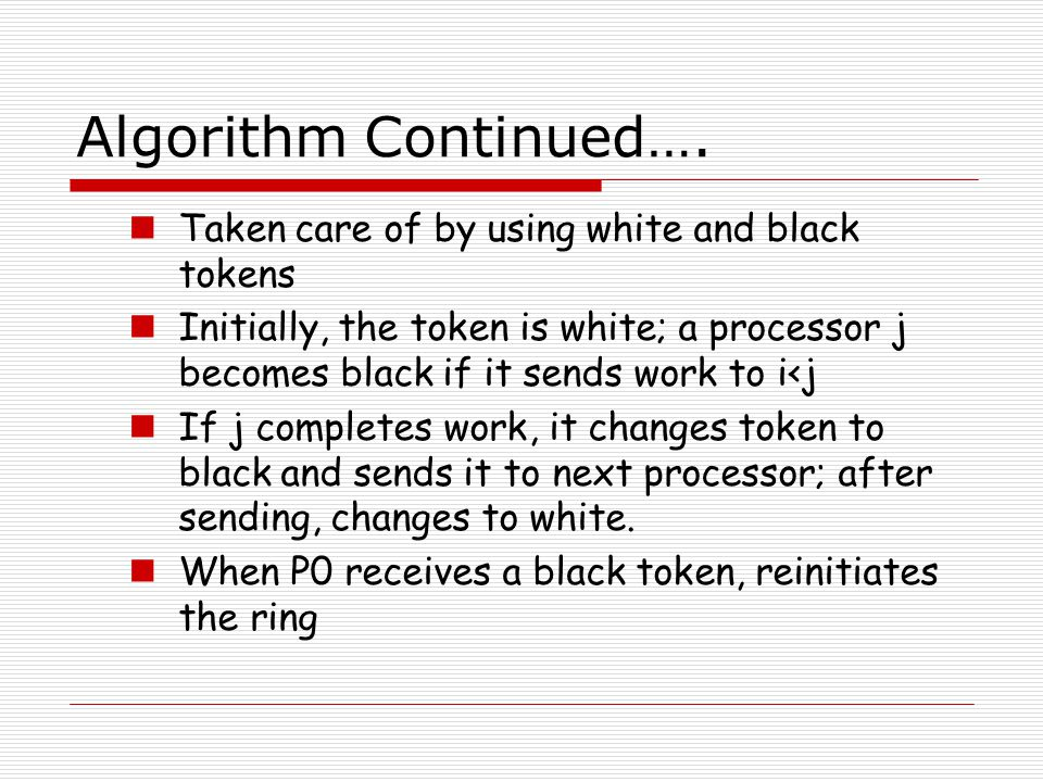 Algorithm Continued…. Taken care of by using white and black tokens