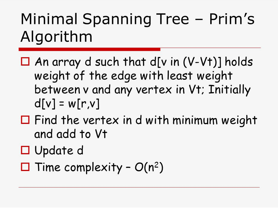 Minimal Spanning Tree – Prim's Algorithm
