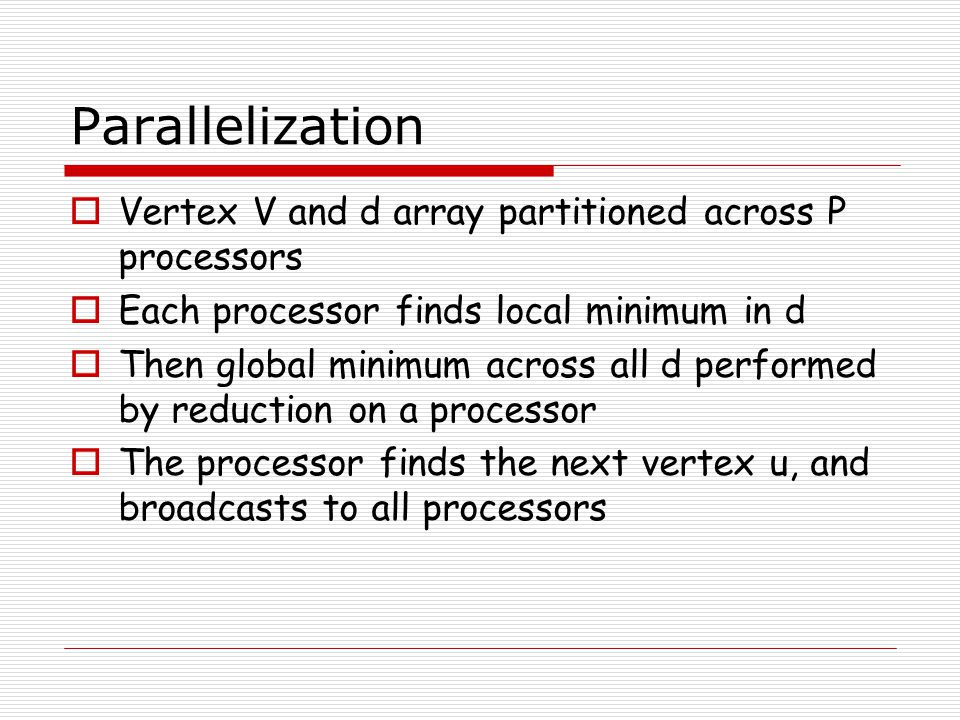 Parallelization Vertex V and d array partitioned across P processors