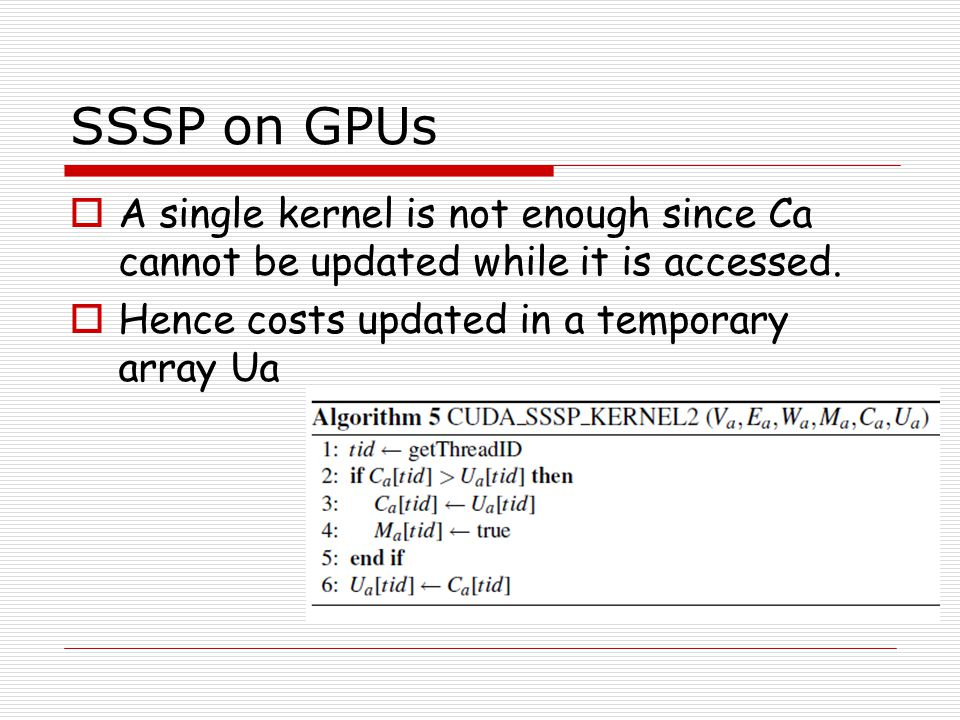 SSSP on GPUs A single kernel is not enough since Ca cannot be updated while it is accessed.