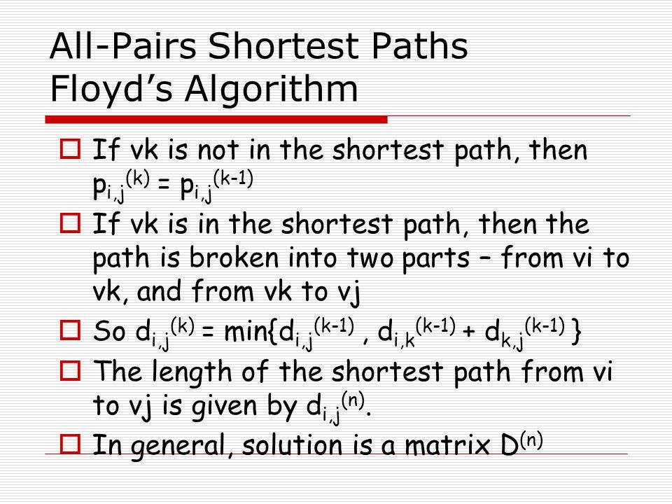 All-Pairs Shortest Paths Floyd's Algorithm